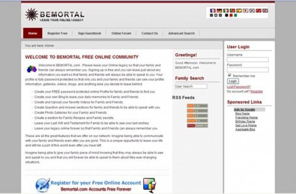 Bemortal Social Network Website