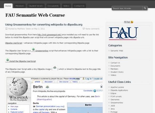FAU Semantic Web Based Tools